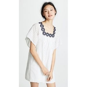 Madewell White and Blue Striped Embroidered Dress